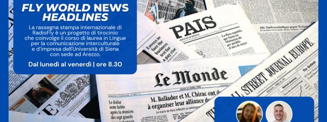 """""""Fly World News Headlines"""": al via la rassegna stampa internazionale di RadioFly che vede protagonisti gli studenti del Corso di laurea in Lingue dell'Università di Siena"""